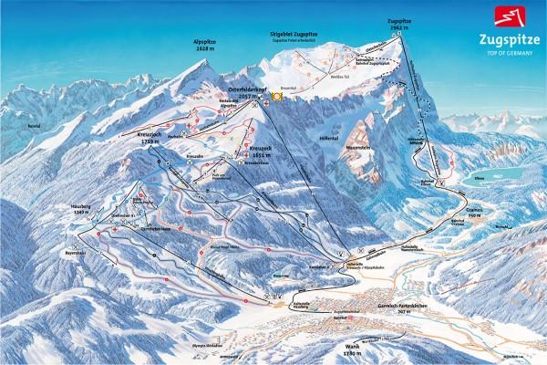 Pistekaart skigebied Garmisch Partenkirchen