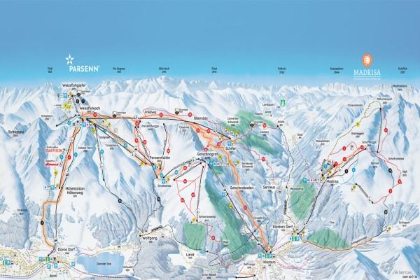 Davos - Klosters pistekaart