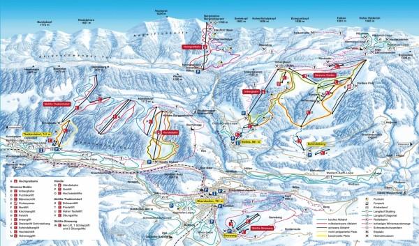 Oberstaufen pistekaart en deelskigebieden