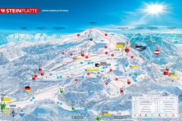 Winklmoos - Steinplatte skigebied pistekaart
