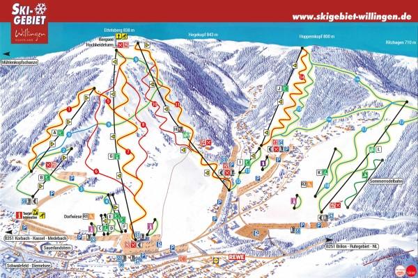 Pistekaart skigebied Willingen Ettelsberg