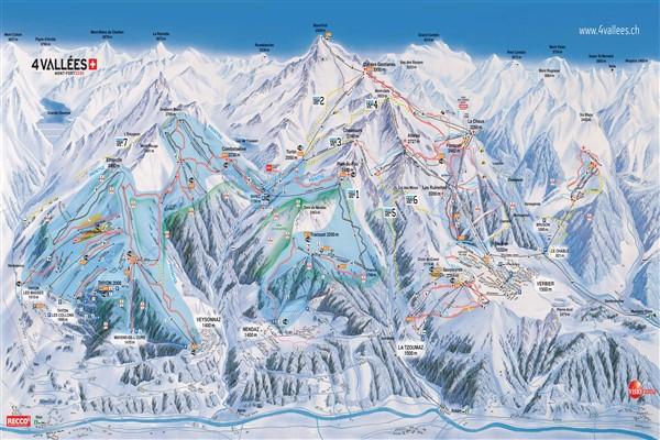 Les 4 Vallées pistekaart