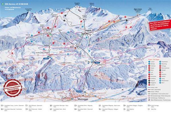 Meiringen-Hasliberg pistekaart