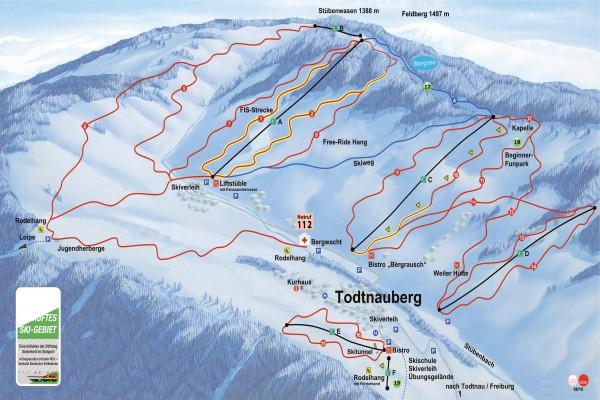 Duitsland skigebied Todtnauberg pistekaart © Hochschwarzwald Tourismus