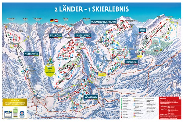 Kleinwalsertal pistekaart 2020 @ Oberstdorf - Kleinwalsertal Bergbahnen