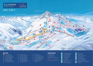 Paznauntal pistekaart skigebied Silvapark Galtür © TVB Paznaun - Ischgl en Bergbahnen Galtuer