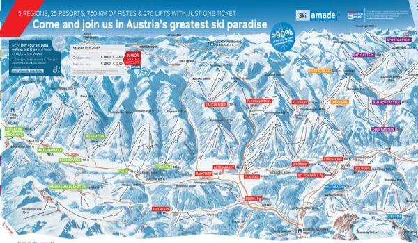 Ski Amadé pistekaart skiregio © www.skiamade.com - www.salzburgersportwelt.com