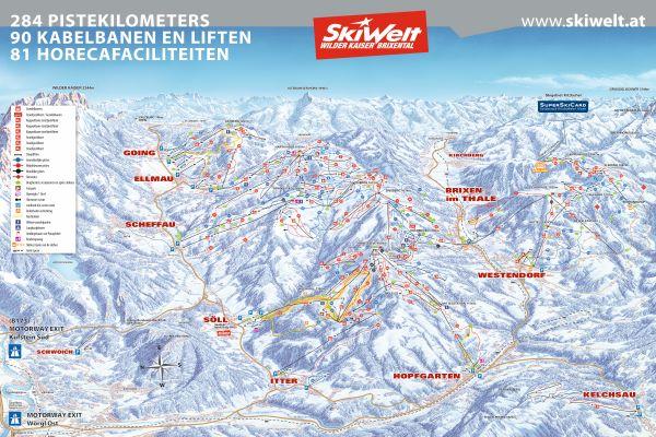 SkiWelt pistekaart 2019-2020 © www.skiwelt.at